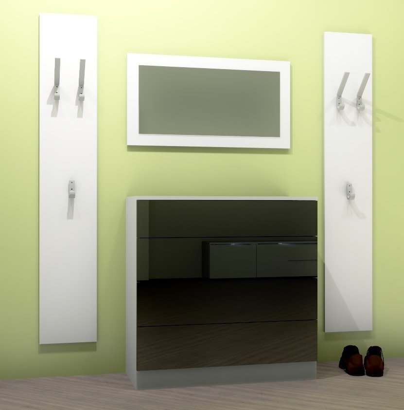 garderobenset v2 kommode spiegel garderobe push to open hochglanz matt wei ebay. Black Bedroom Furniture Sets. Home Design Ideas